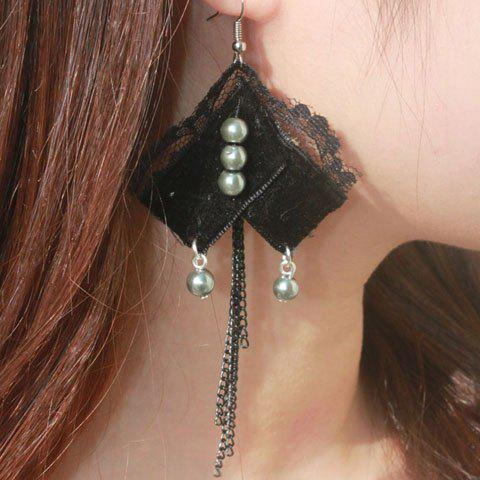Pair of Gothic Faux Pearl Embellished Women's Lace Long Tassels Earrings