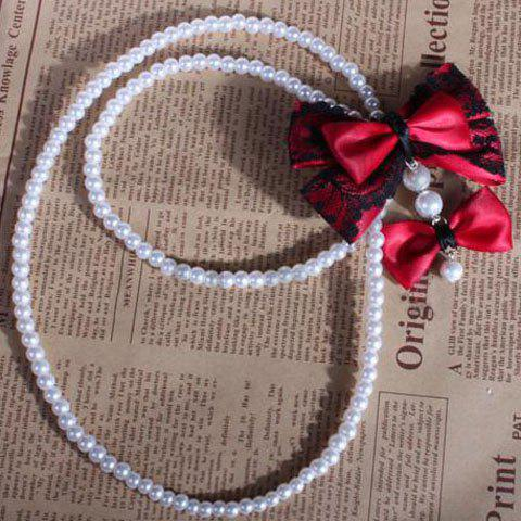 Sweet Ribbon and Lace Bowknot Embellished Long Faux Pearl Necklace - RED