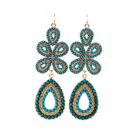 Delicate Bohemian Style Flower Shape Drop Earrings For Women - BLUE