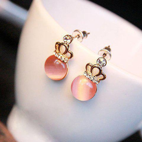 Faux Opal Rhinestone Embellished Crown Shape Earrings - PINK