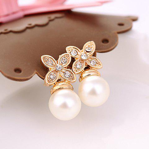 Ladylike Style Faux Pearl and Rhinestone Embellished Flower Shape Earrings - AS THE PICTURE