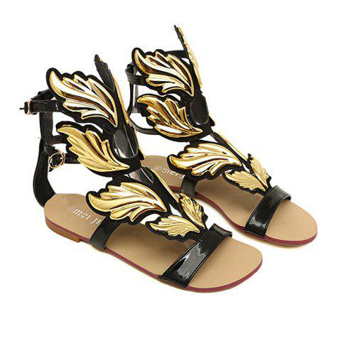 New Arrival Solid Color and Buckle Design Flat Sandals For Women - BLACK 36