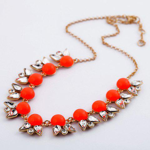 Fashion Characteristic Rhinestone and Opal Embellished Alloy Necklace For Women - RED