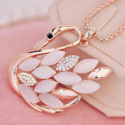 Gorgeous Opal and Rhinestone Embellished Swan Pendant Women's Sweater Chain Necklace
