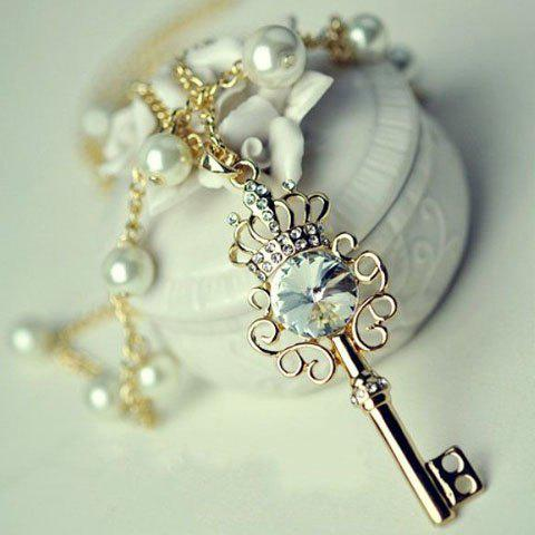 Retro Fashionable Faux Pearl Embellished Key Pendant Necklace For Women - AS THE PICTURE