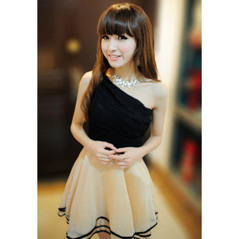 Sleeveless One-Shoulder Fashionable Style Chiffon Color Block Women's Dress - APRICOT ONE SIZE