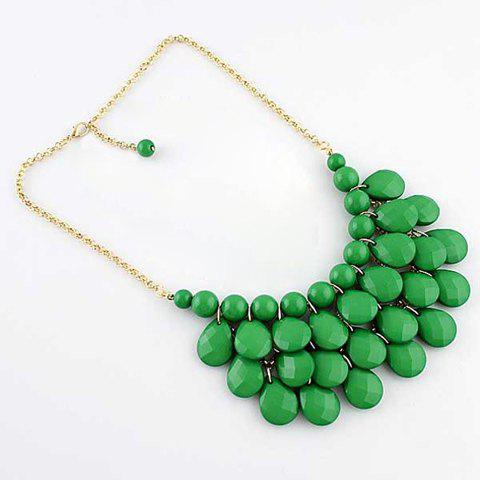 Fashion Waterdrop Pendant Candy Color Necklace - GREEN
