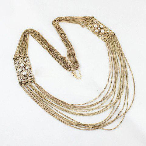 Vintage Rhinestone Faux Pearl Multi-Layered Sweater Chain Necklace - AS THE PICTURE