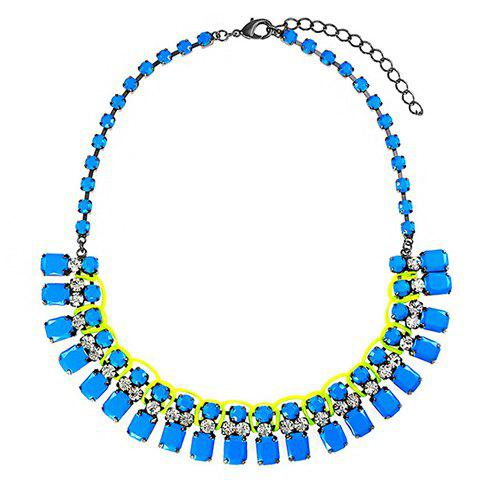Faux Gem Design Rhinestoned Choker Necklace - COLOR ASSORTED