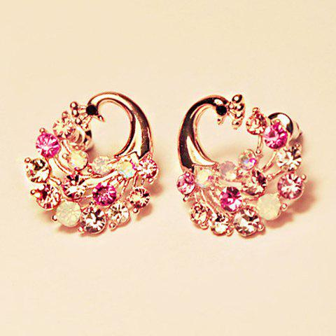 Rhinestone Embellished Peacock Shape Earrings - AS THE PICTURE