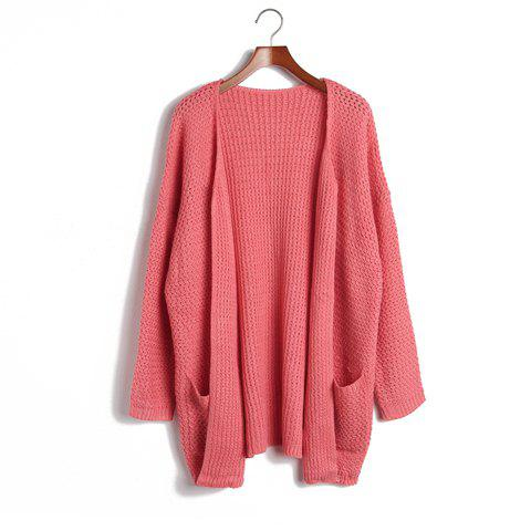 Women's Fashional Open Front Batwing 3/4 Sleeve Cardigan With Pockets - WATERMELON RED ONE SIZE