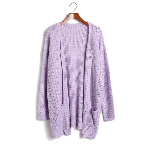 Women's Fashional Open Front Batwing 3/4 Sleeve Cardigan With Pockets - PURPLE ONE SIZE