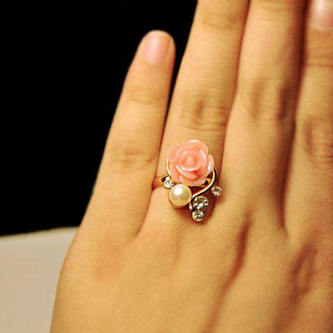 Faux Pearl Rhinestone Rose Ring - AS THE PICTURE ONE SIZE