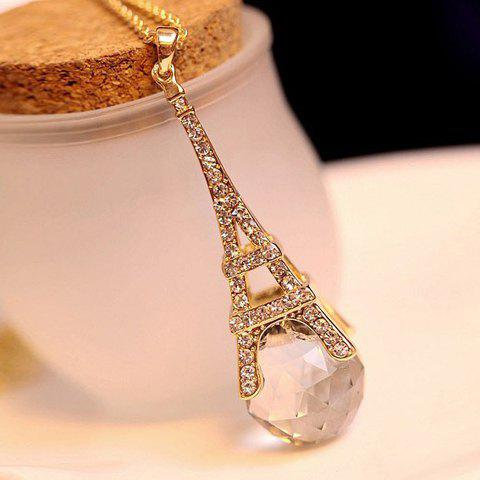Rhinestone Faux Crystal Embellished Eiffel Tower Pendant Alloy Sweater Chain Necklace - AS THE PICTURE