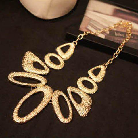 Exaggerated Irregular Geometric Shaped Golden Necklace