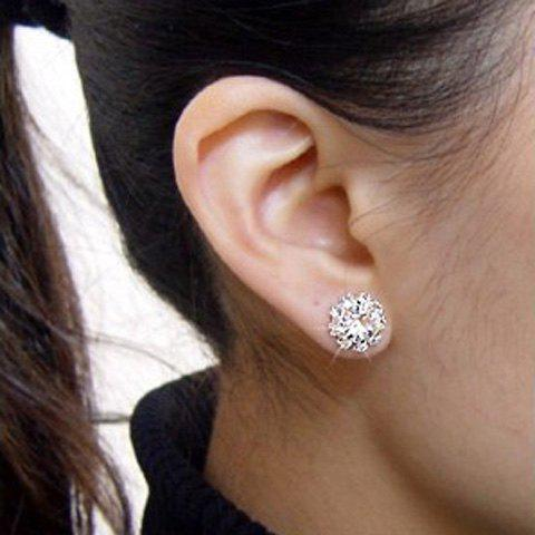 Sunflower Shape Rhinestone Stud Earrings - AS THE PICTURE