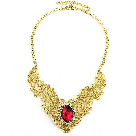 Delicate Gorgeous Style Openwork Alloy Design Women's Rhinestoned Gem Necklace - RED