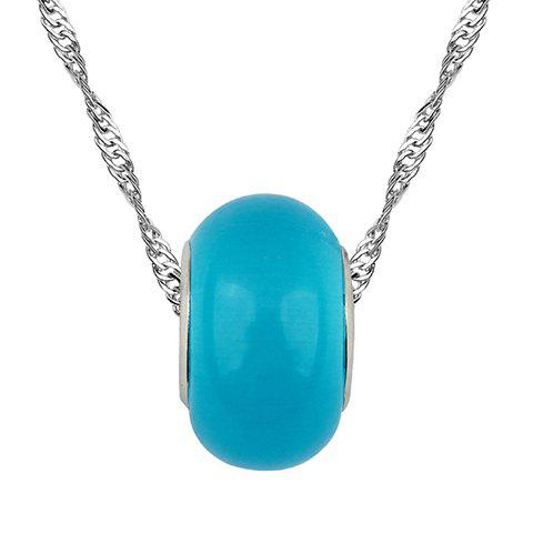Chic Style Solid Color Bead Decorated Pendant Necklace - LAKE BLUE