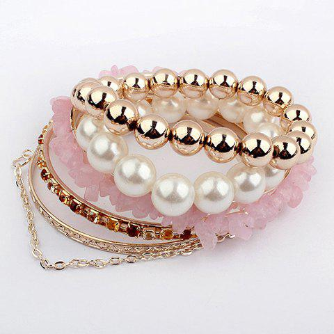 5PCS of Chic Style Multi-Layered Beads Decorated Bracelets For Women - LIGHT PINK