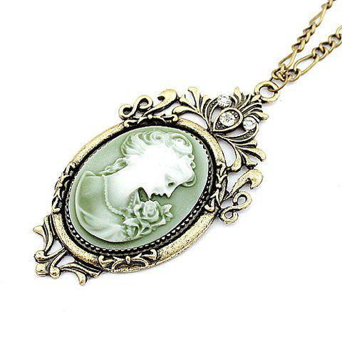 Vintage Chic Style Rhinestone Decorated Women's Queen Print Pendant Sweater Chain Necklace