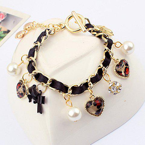 Faux Pearl Bowknot Heart Pendant Alloy Bracelet - AS THE PICTURE
