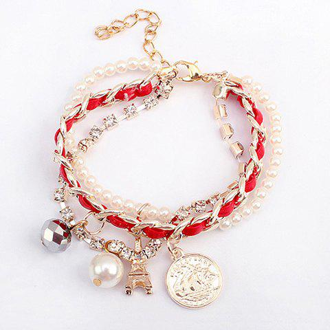 Alloy Faux Pearl Pendant Multilayered Bracelet - COLOR ASSORTED