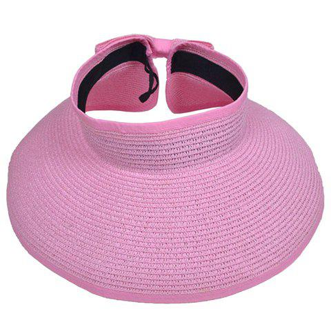 Casual Solid Color Collapsible Empty Top Straw Hat - PINK ONE SIZE