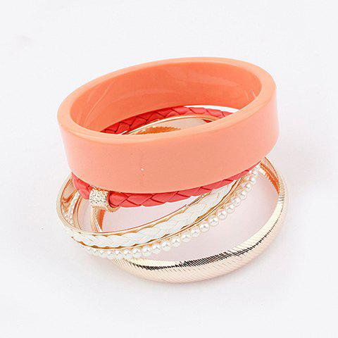 5PCS of Fresh Style Faux Pearl Embellished Candy Color Plastic Cement and Alloy Bracelets - PEACH RED