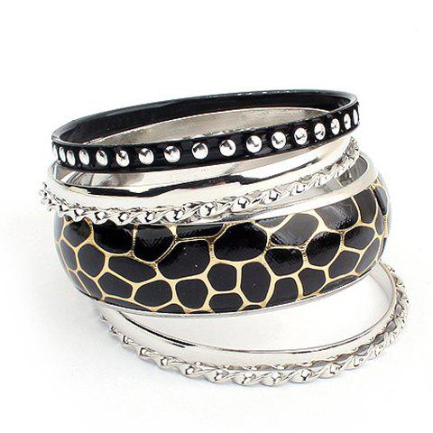 6PCS of Rivet Embellished Faux Leather Alloy Bracelets - AS THE PICTURE