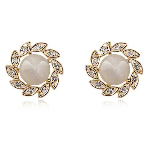 Pair of Chic Style Opal Inlaid Sunflower Shape Stud Earrings - WHITE