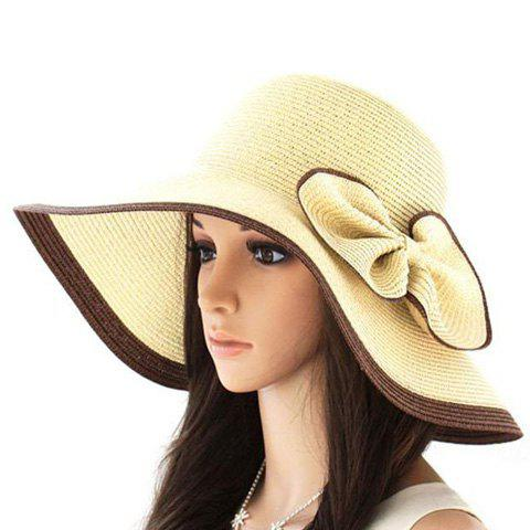 Exaggerated Bicolor Bowknot Embellished Broad Brim Straw Cap - COLORASSORTED ONE SIZE