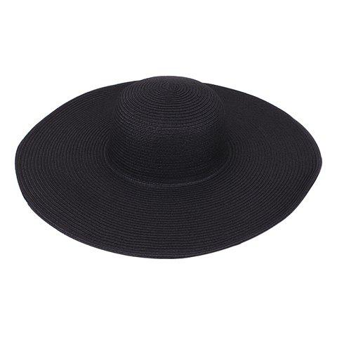 Sweet Solid Color Beach Peaked Straw Hat - BLACK ONE SIZE