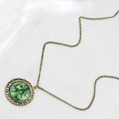 Chic Style Magic Print Alloy Mirror Shape Pendant Necklace - AS THE PICTURE