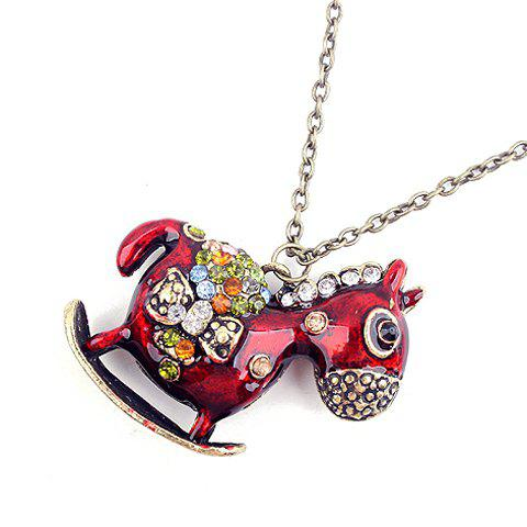 Cute Sweet Rhinestoned Embellished Hobbyhorse Shaped Sweater Chain For Women - RED