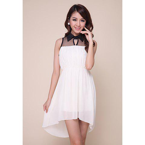 Stylish Polo Neck Mesh Splicing Color Block Women's High-Low Chiffon Dress - WHITE S