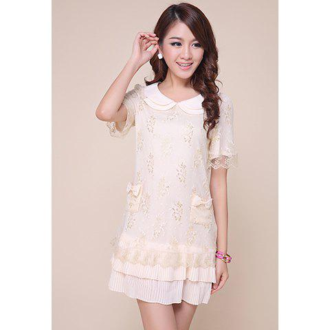 Fairy Peter Pan Neck Lace Covered Women's Chiffon Dress - AS THE PICTURE S