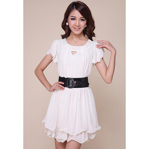 Sweet Short Sleeves Openwork Solid Color Women's Chiffon Dress - WHITE S