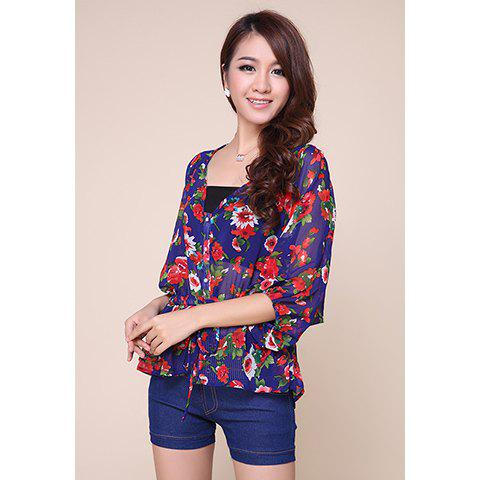 Stunning Lace-Up Batwing 3/4 Sleeves Women's Chiffon Blouse - AS THE PICTURE L