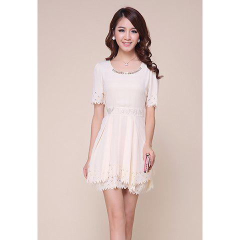 Refreshing Short Sleeves Openwork Edge Solid Color Women's Dress - S AS THE PICTURE