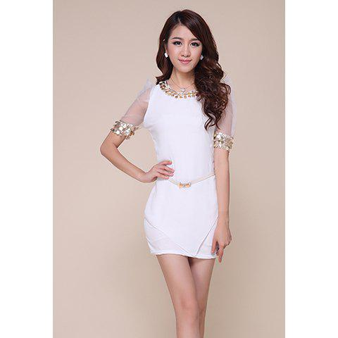 Gorgeous Sequins Emabellished Mesh Splicing Polyester Women's Dress - WHITE S