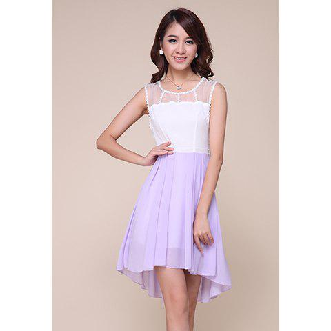 Ladylike Mesh Splicing Sleeveless High-Low Hem Women's Chiffon Dress