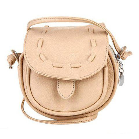 New Arrival Solid Color and Weaving Design Crossbody Bag For Women - BEIGE