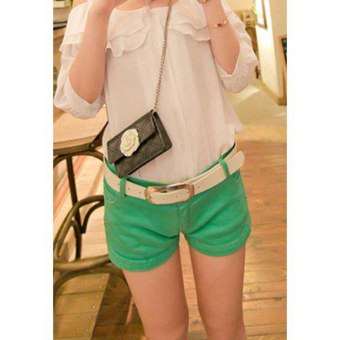 Simple Style Denim Solid Color Women's Shorts - GREEN S