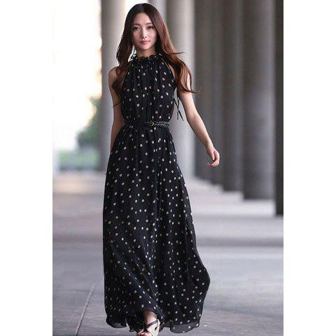 Alluring Keyhole Neckline Polka Dot Women's Maxi Dress With Belt - BLACK ONE SIZE