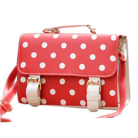 New Arrival Buckle and Polka Dot Design Tote Bag For Women - RED