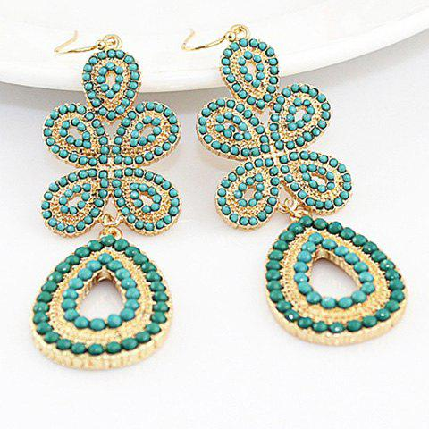 Pair of Sweet Chic Alloy Flower Shaped Openwork Earrings For Women - COLOR ASSORTED