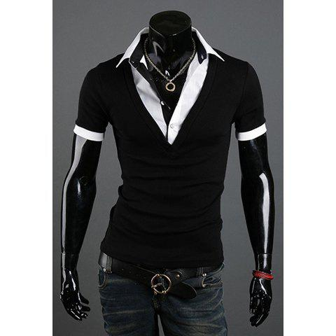 Fashion Style Polo Collar Faux Twinset Short Sleeves Polyester Men's T-Shirt - BLACK 2XL