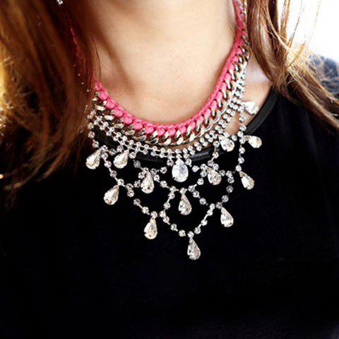 Brilliant Gemstone Embellished Waterdrop Shaped Pendant Knitted Alloy Necklace For Women