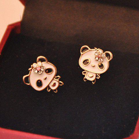 Pair of Cute Cartoon Rhinestone Embellished Panda Shaped Earrings For Women - AS THE PICTURE