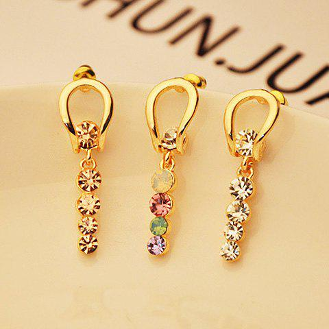 Pair Of Delicate Chic Style Rhinestone Embellished Women's Bar Shape Drop Earrings - COLOR ASSORTED